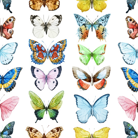 random: Beautiful  pattern with nice watercolor butterflies Illustration