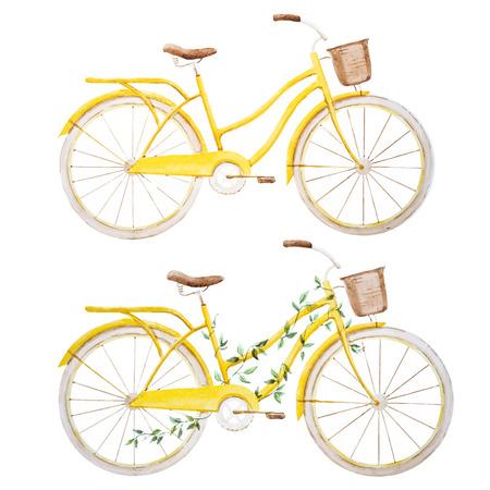 paris vintage: Imagen hermosa con la bicicleta de la bici bonita acuarela