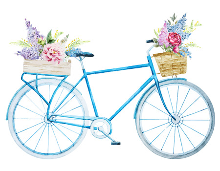 basket: Beautiful vector image with nice watercolor bike bicycle