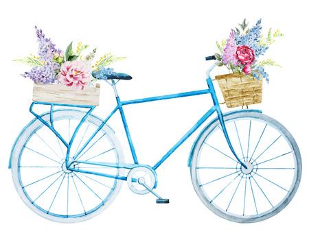 bicicleta: Imagen hermosa del vector con la bicicleta de la bici bonita acuarela Vectores