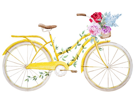 flower basket: Beautiful vector image with nice watercolor bike bicycle