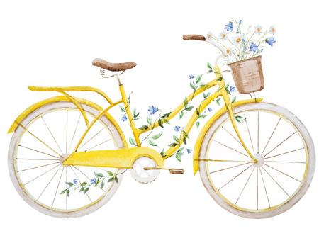 Belle image vectorielle avec une belle aquarelle vélo vélo Vecteurs