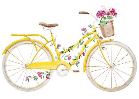素敵な水彩画自転車で美しいベクトル画像  イラスト・ベクター素材