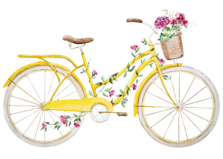 hand basket: Beautiful vector image with nice watercolor bike bicycle