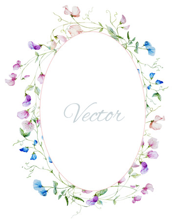 sweet pea: Beautiful frame with nice watercolor flowers Illustration