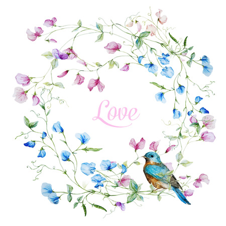 Beautiful  frame with nice watercolor flowers Ilustracja