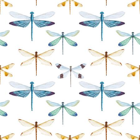 dragonfly: Beautiful vector pattern with nice watercolor dragonflies Illustration