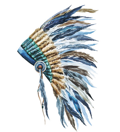 indio americano: Hermosa imagen con un bonito sombrero de la acuarela del nativo americano Vectores