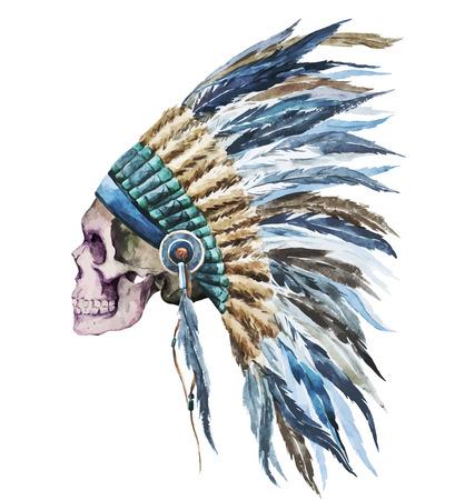 Belle image vectorielle avec une belle aquarelle natif chapeau américain Banque d'images - 39992688