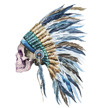 Beautiful vector image with nice watercolor native american hat
