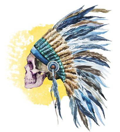 indios americanos: Hermosa imagen con un bonito sombrero de la acuarela nativo americano