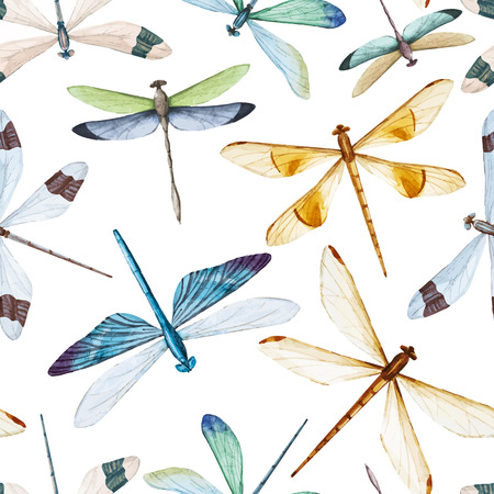Beautiful  pattern with nice watercolor dragonflies