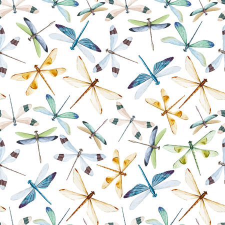 Beautiful pattern with nice watercolor dragonflies Vettoriali