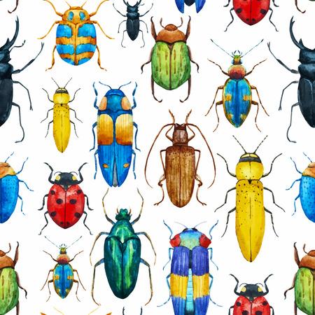 escarabajo: Bella modelo con bonitas bichos acuarela Vectores