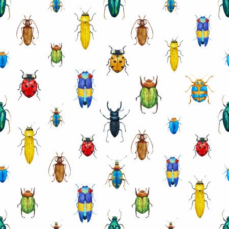 Schöne Muster mit netten Aquarell Bugs Standard-Bild - 40029489