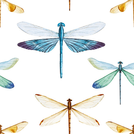 Beautiful vector pattern with nice watercolor dragonflies Ilustracja