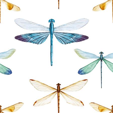 Prachtige vector patroon met mooie aquarel libellen Stock Illustratie
