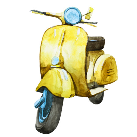 Beautiful image with nice watercolor vintage scooter Stok Fotoğraf - 40460332