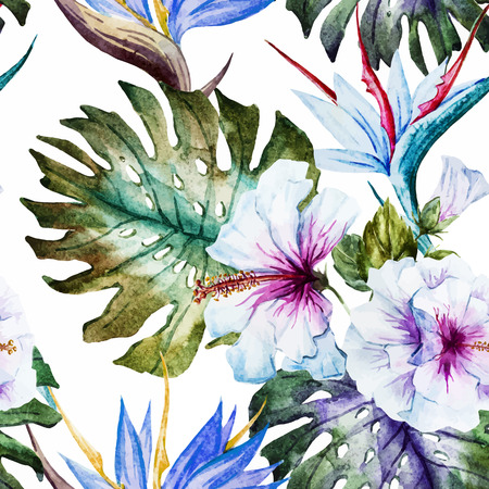 Beautiful pattern with nice watercolor hibiscus Vectores