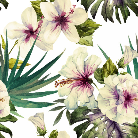Beautiful vector pattern with nice watercolor hibiscus Vettoriali