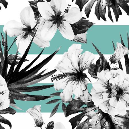 Prachtige vector patroon met mooie aquarel hibiscus Stock Illustratie
