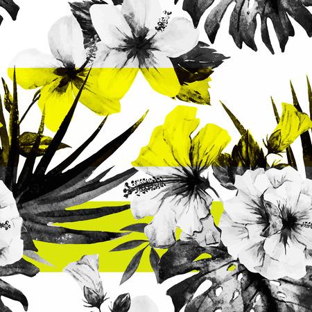 Beautiful vector pattern with nice watercolor hibiscus Stock Illustratie