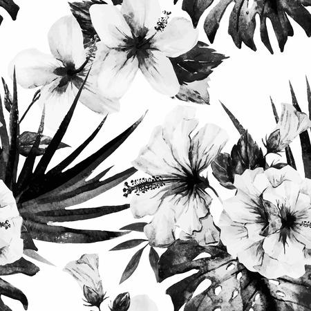 palms: Modelo hermoso del vector con buen hibisco de la acuarela