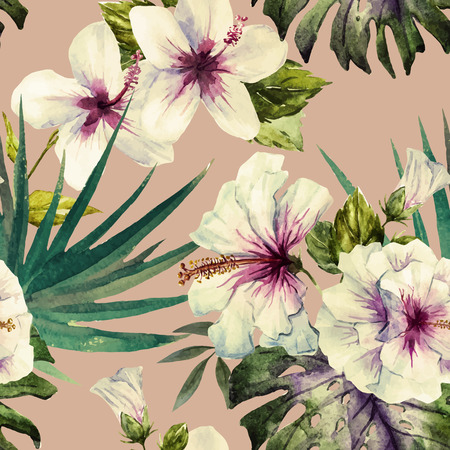 Beautiful vector pattern with nice watercolor hibiscus Çizim