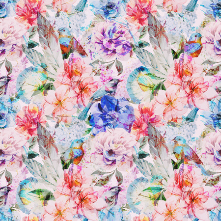 Beautiful vector pattern with nice watercolor flowers 向量圖像