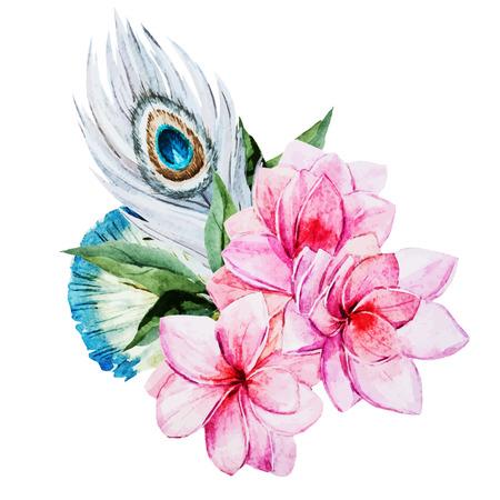 plumas de pavo real: Imagen hermosa del vector con bonitas flores de la acuarela Vectores