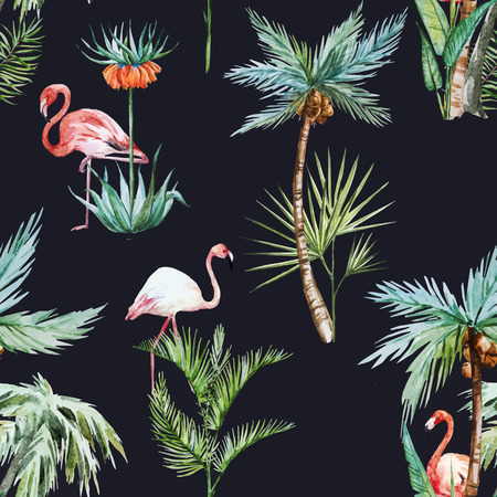 Beautiful vector pattern with nice watercolor palms and flamingo Ilustração