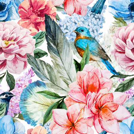 Beautiful vector pattern with nice watercolor flowers Ilustracja