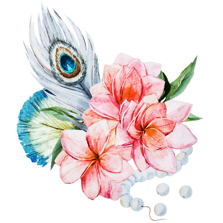 pavo real: Imagen hermosa del vector con bonitas flores de la acuarela Vectores