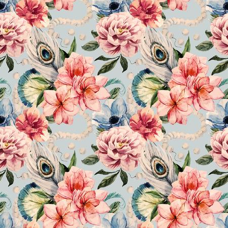 좋은 수채화 꽃과 아름 다운 벡터 패턴