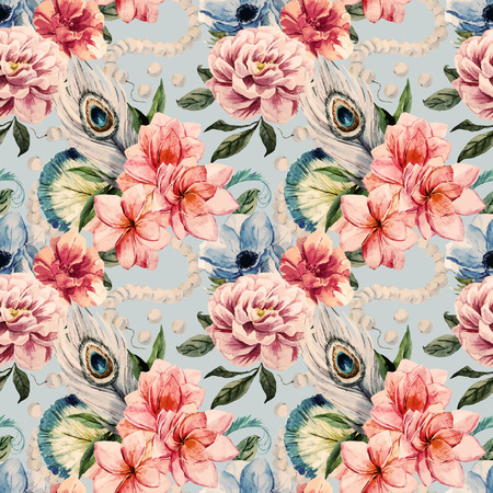Prachtige vector patroon met mooie aquarel bloemen Stock Illustratie