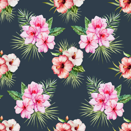 abstract flower: Beautiful vector pattern with watercolor tropical flowers