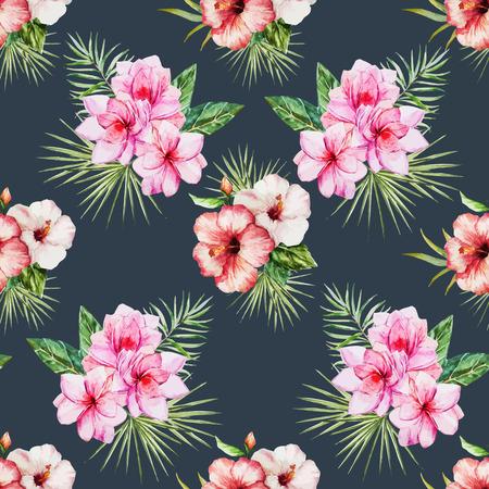 hawaiian flower: Beautiful vector pattern with watercolor tropical flowers