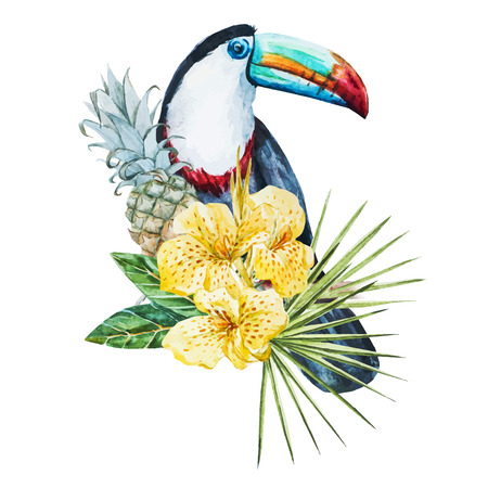 Beautiful vector image with nice watercolor tropical flowers and toucan Ilustração