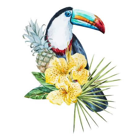 frutas tropicales: Imagen hermosa del vector con buen acuarela flores tropicales y tucán
