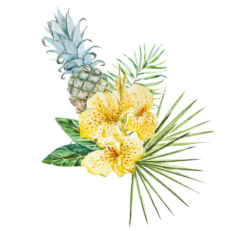 frond: Beautiful vector image with nice watercolor tropical flowers