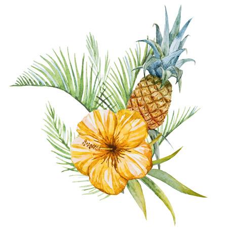 Bella immagine di vettore con bel acquerello fiori tropicali Archivio Fotografico - 40589951