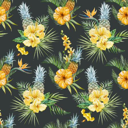 abstrakte muster: Schöne Vektor-Muster mit Aquarell tropischen Blumen Illustration