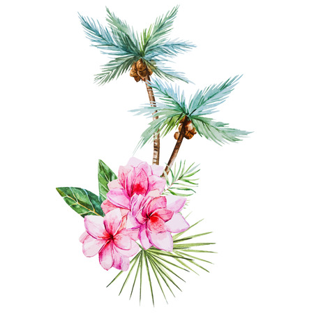 Beautiful vector image with nice watercolor tropical palm