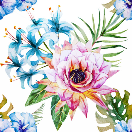 Beautiful vector pattern with nice watercolor tropical flowers Ilustração