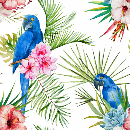 Beautiful vector pattern with nice watercolor tropical flowers Stock Illustratie
