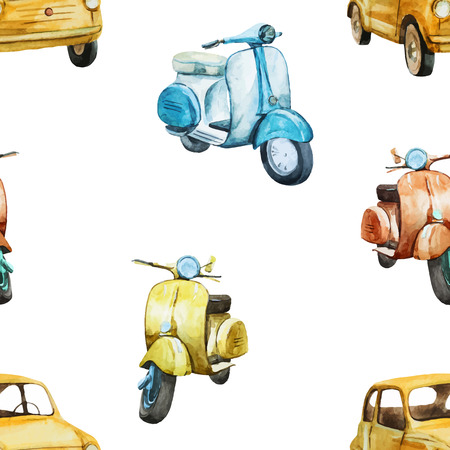 cartoon train: Beautiful vector pattern with nice watercolor retro scooters and cars