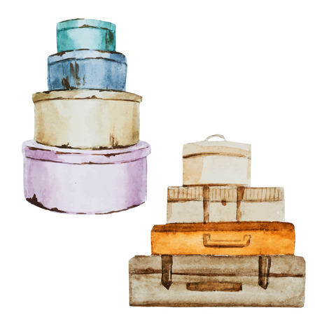 valigia: Bella immagine di vettore con bel bagaglio acquerello