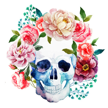 Beautiful vector image with nice watercolor skull 向量圖像