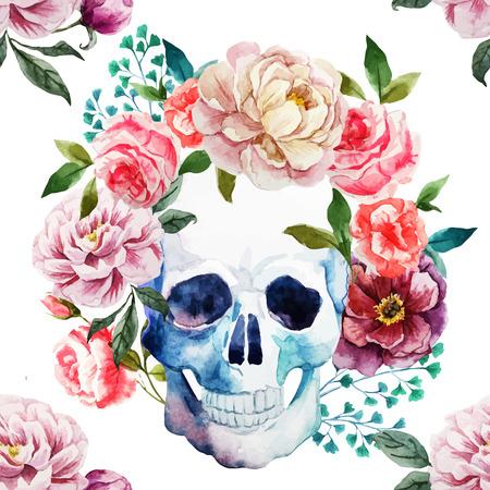dode bladeren: Mooie vector afbeelding met mooie aquarel schedel