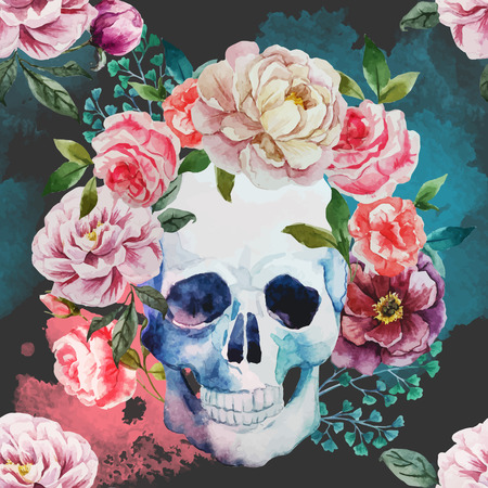 Beautiful vector image with nice watercolor skull Çizim